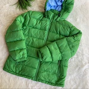 Lands End green down puffer jacket Large